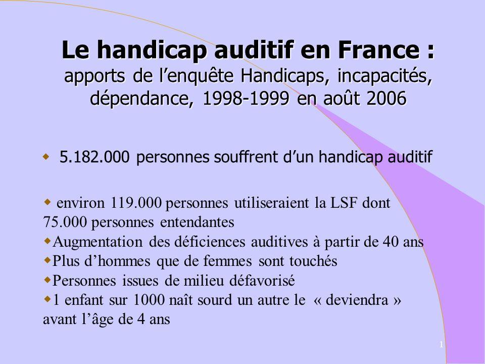 Le handicap auditif en France : apports de l'enquête Handicaps, incapacités, dépendance, 1998-1999 en août 2006