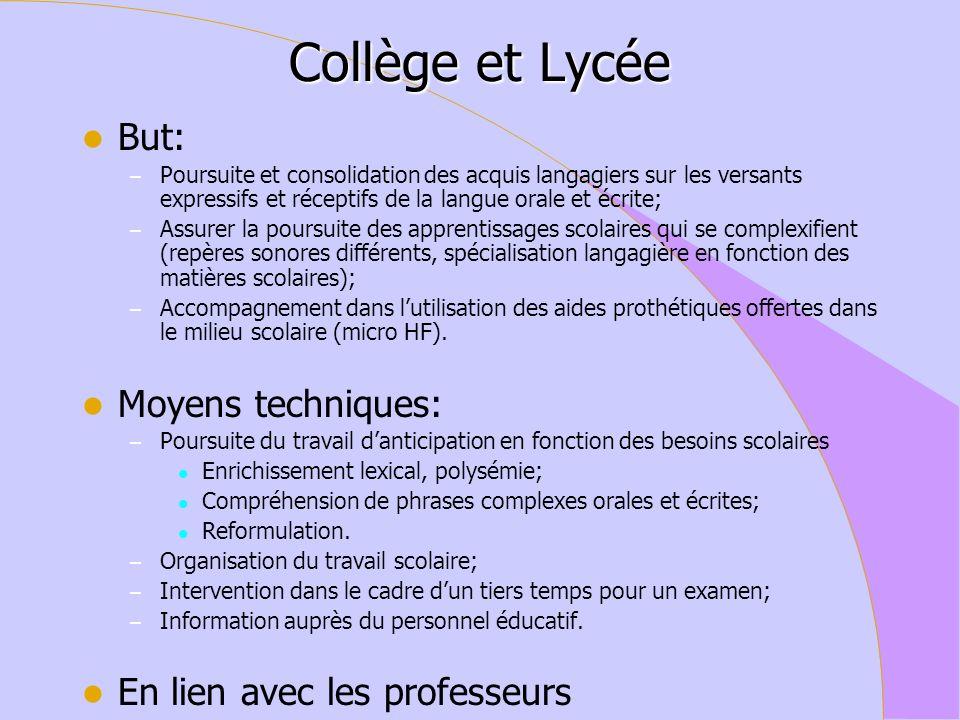 Collège et Lycée But: Moyens techniques: En lien avec les professeurs