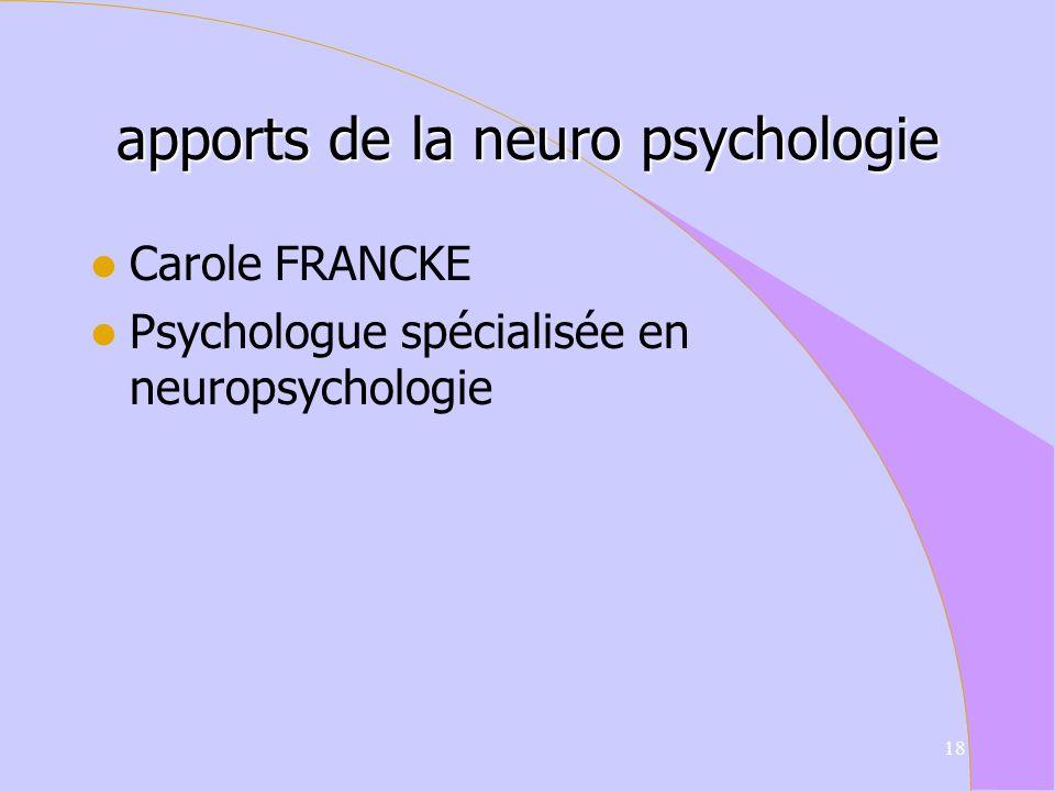 apports de la neuro psychologie