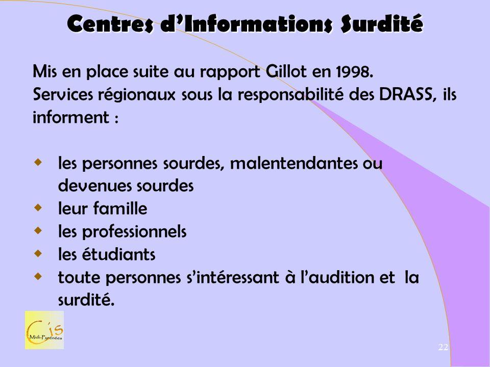 Centres d'Informations Surdité