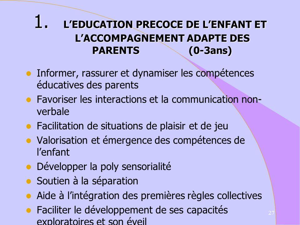 L'EDUCATION PRECOCE DE L'ENFANT ET L'ACCOMPAGNEMENT ADAPTE DES PARENTS (0-3ans)