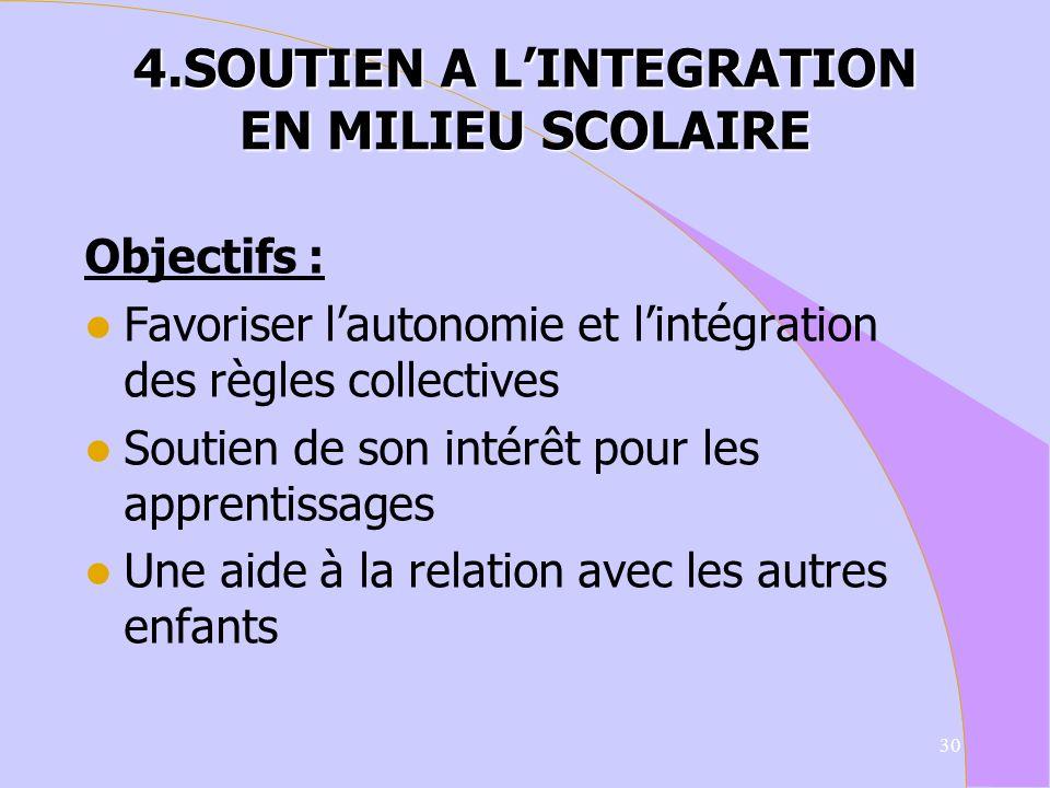4.SOUTIEN A L'INTEGRATION EN MILIEU SCOLAIRE