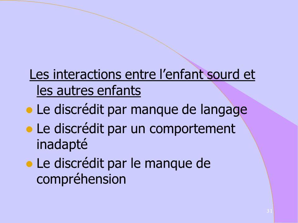 Les interactions entre l'enfant sourd et les autres enfants