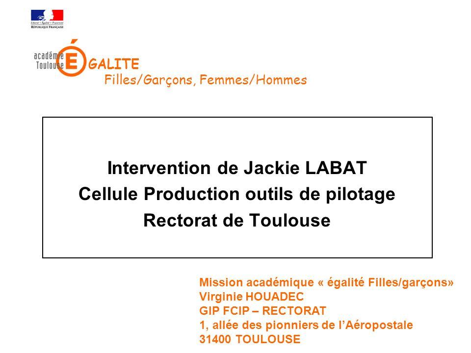 Intervention de Jackie LABAT Cellule Production outils de pilotage