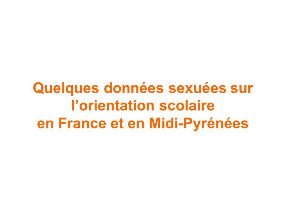 Quelques données sexuées sur l'orientation scolaire en France et en Midi-Pyrénées
