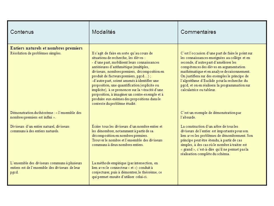 Contenus Modalités Commentaires Entiers naturels et nombres premiers