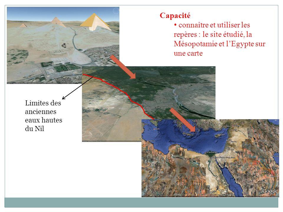 Capacité connaître et utiliser les repères : le site étudié, la Mésopotamie et l'Egypte sur une carte.
