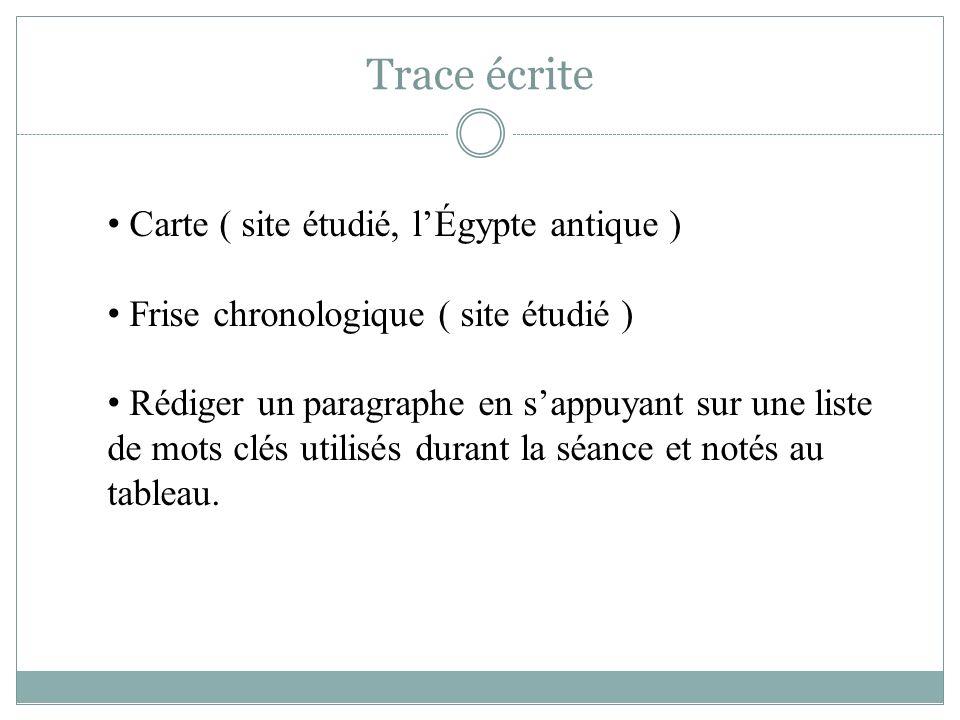 Trace écrite Carte ( site étudié, l'Égypte antique )