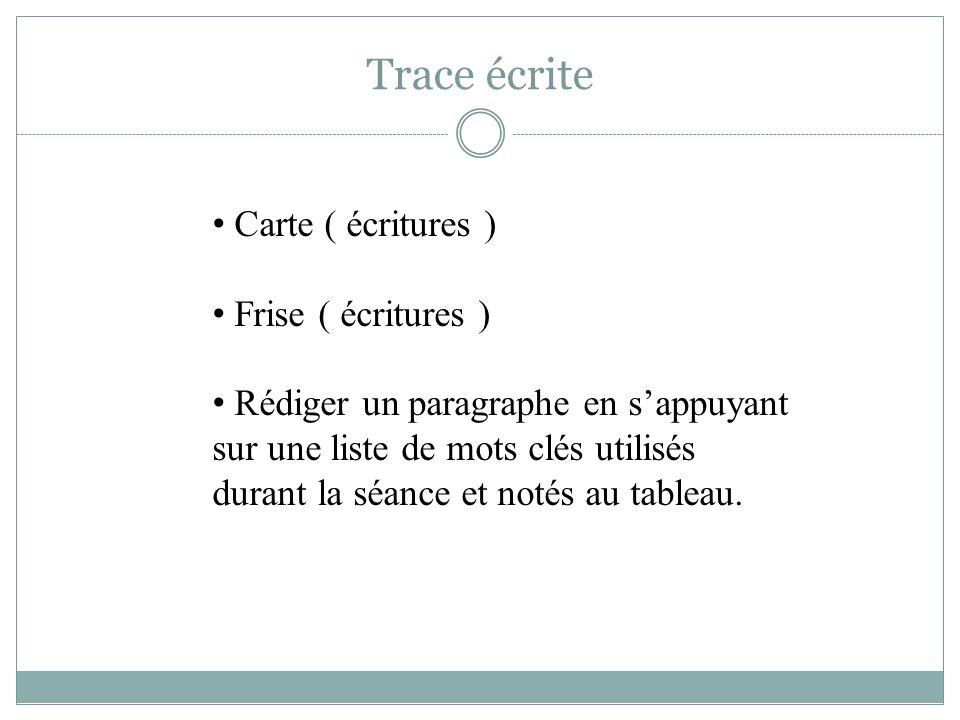 Trace écrite Carte ( écritures ) Frise ( écritures )