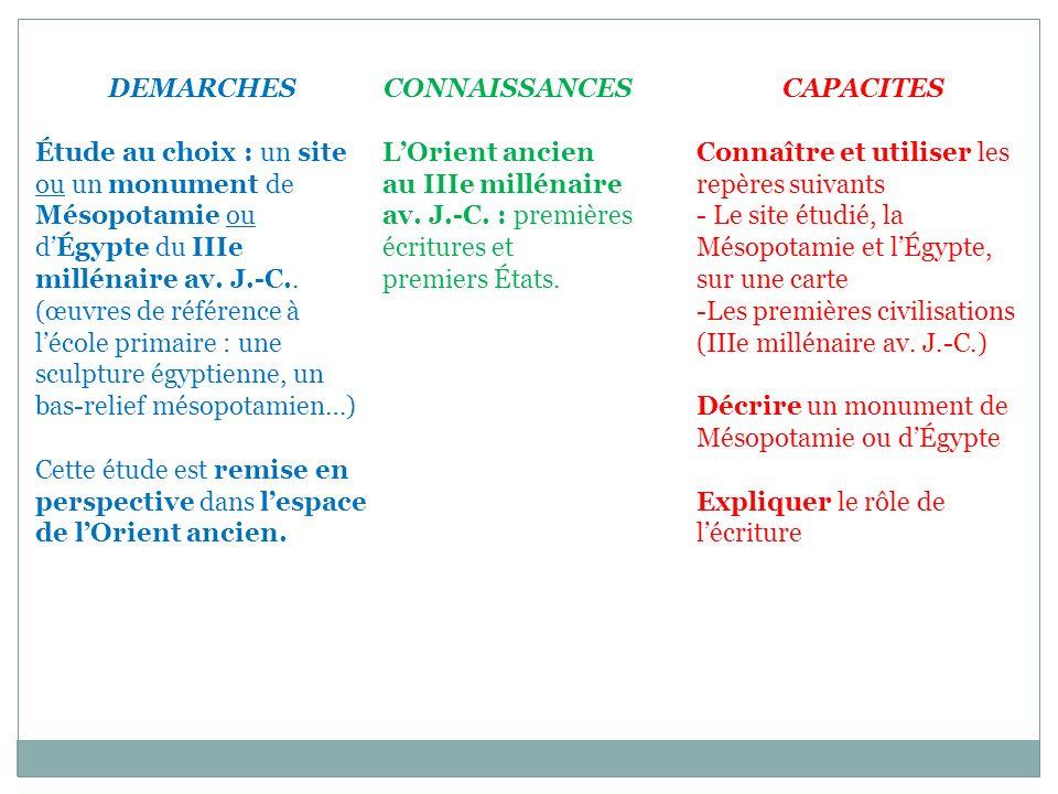 DEMARCHES Étude au choix : un site ou un monument de Mésopotamie ou.