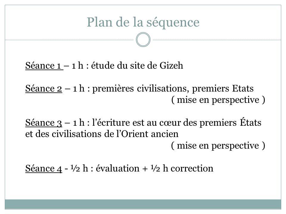 Plan de la séquence Séance 1 – 1 h : étude du site de Gizeh