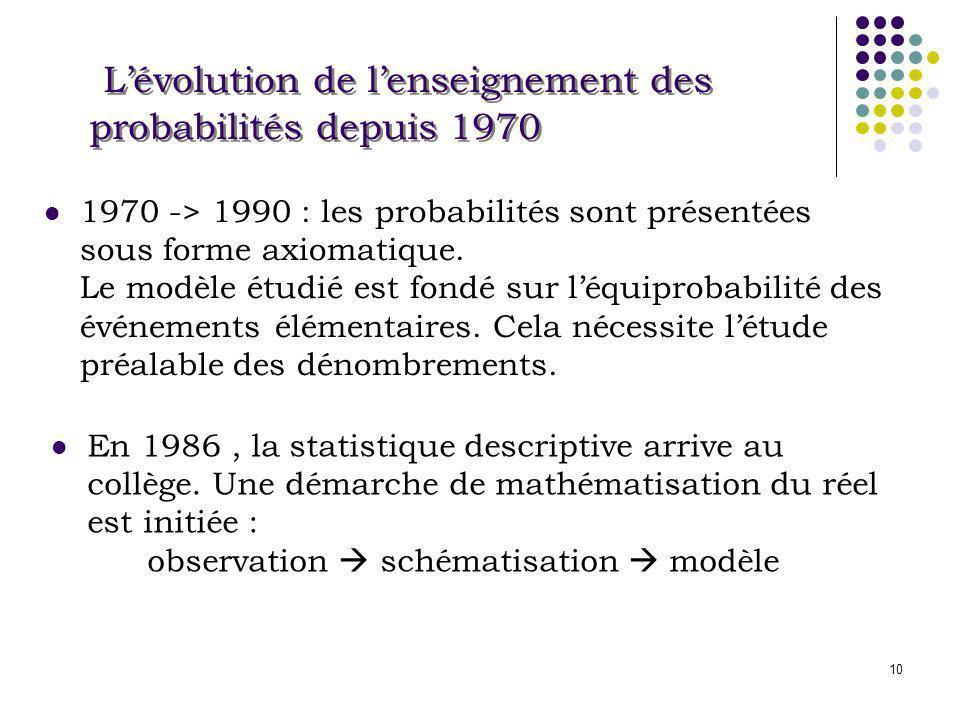 L'évolution de l'enseignement des probabilités depuis 1970