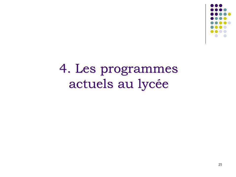 4. Les programmes actuels au lycée