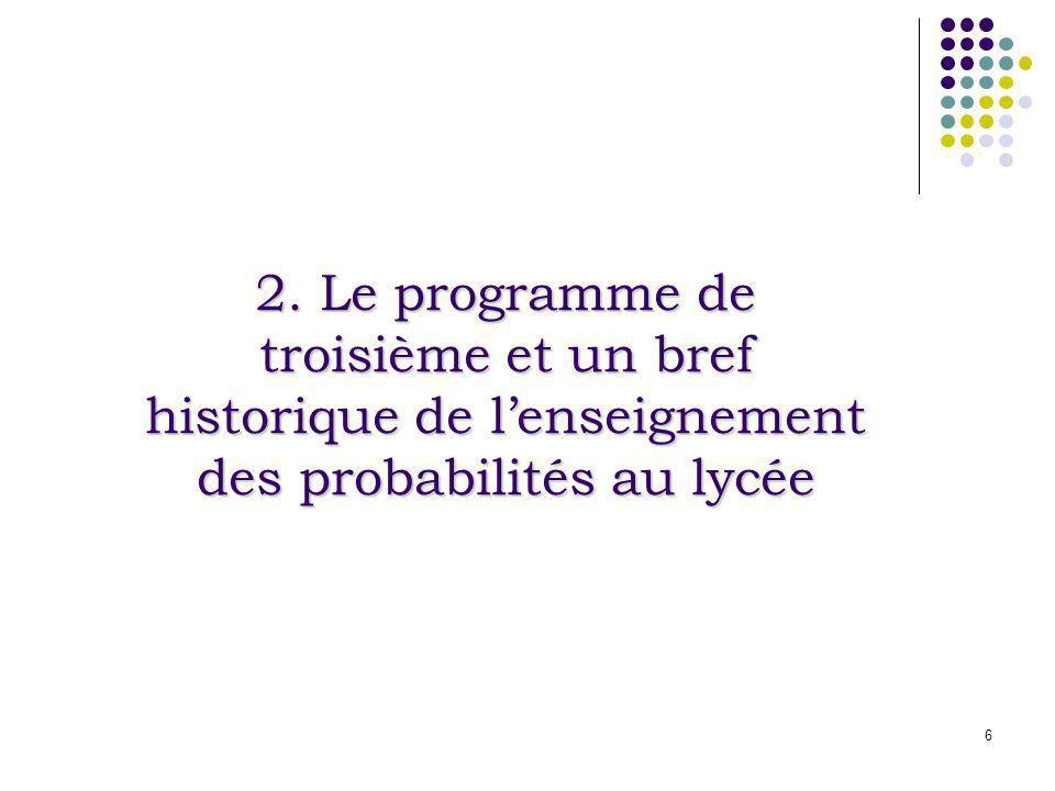 2. Le programme de troisième et un bref historique de l'enseignement des probabilités au lycée