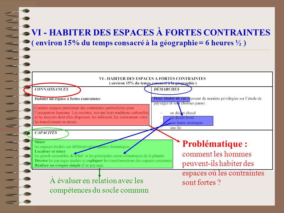 VI - HABITER DES ESPACES À FORTES CONTRAINTES ( environ 15% du temps consacré à la géographie = 6 heures ½ )
