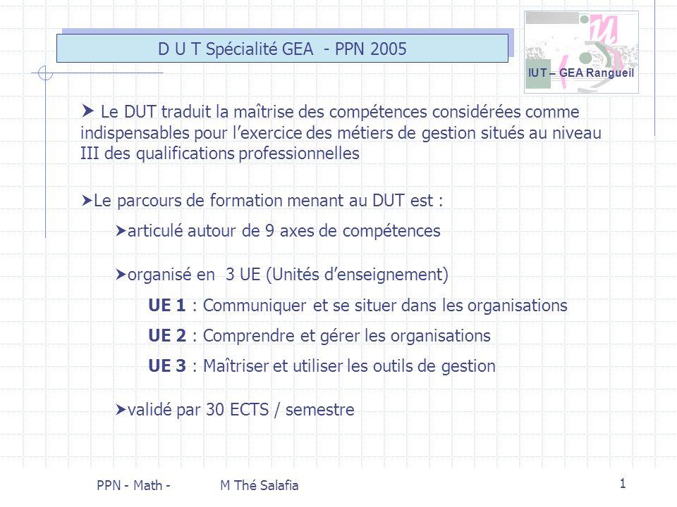 D U T Spécialité GEA - PPN 2005