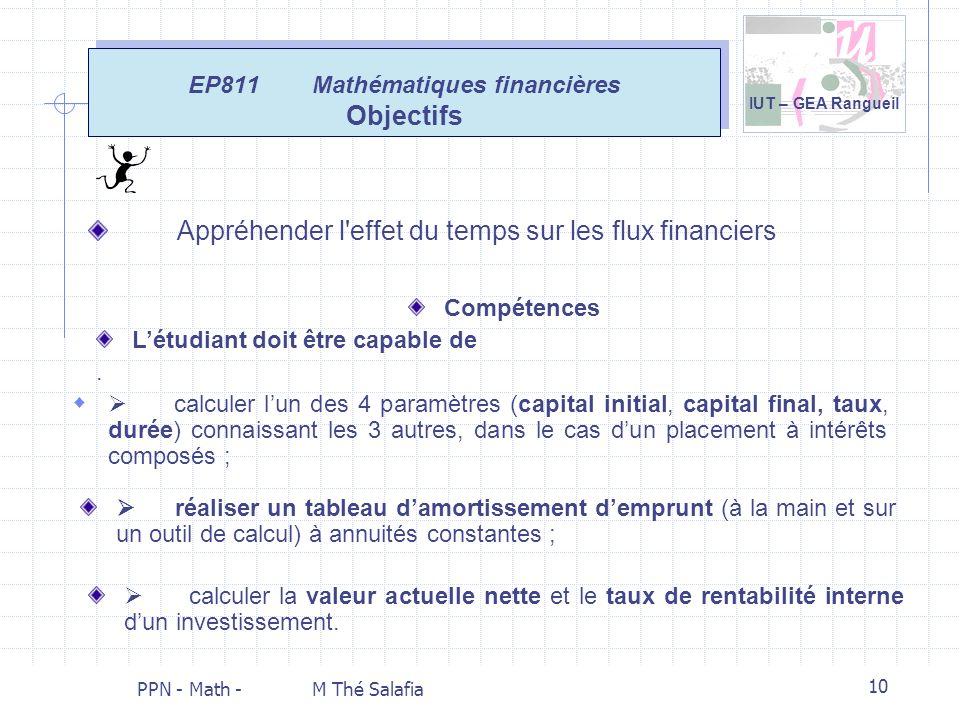 EP811 Mathématiques financières Objectifs