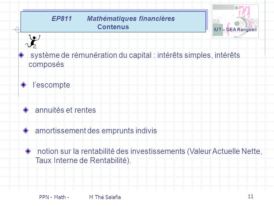 EP811 Mathématiques financières Contenus
