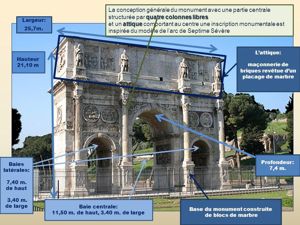 La conception générale du monument avec une partie centrale structurée par quatre colonnes libres