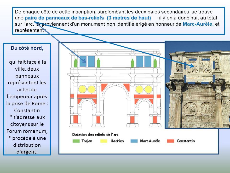 De chaque côté de cette inscription, surplombant les deux baies secondaires, se trouve une paire de panneaux de bas-reliefs (3 mètres de haut) — il y en a donc huit au total sur l arc. Ils proviennent d un monument non identifié érigé en honneur de Marc-Aurèle, et représentent :