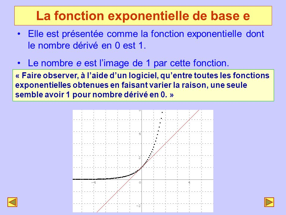 La fonction exponentielle de base e