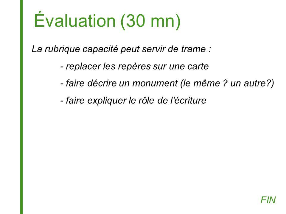 Évaluation (30 mn) La rubrique capacité peut servir de trame :
