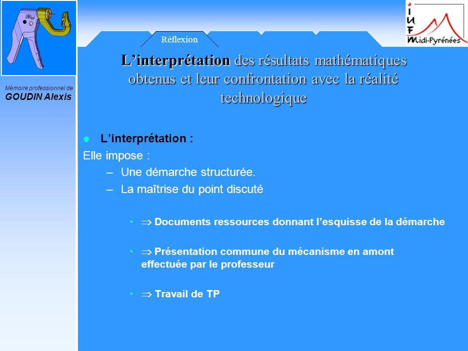 Réflexion L'interprétation des résultats mathématiques obtenus et leur confrontation avec la réalité technologique.