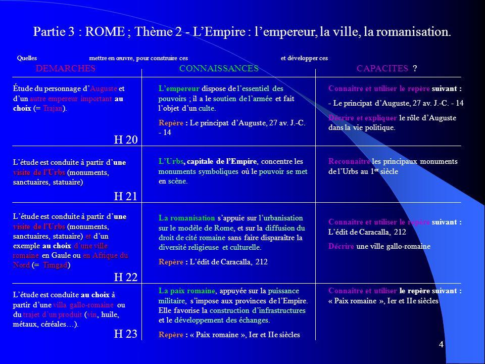 Partie 3 : ROME ; Thème 2 - L'Empire : l'empereur, la ville, la romanisation.