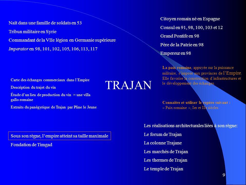 TRAJAN Citoyen romain né en Espagne Consul en 91, 98, 100, 103 et 12
