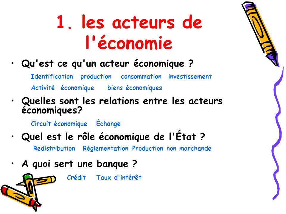 1. les acteurs de l économie