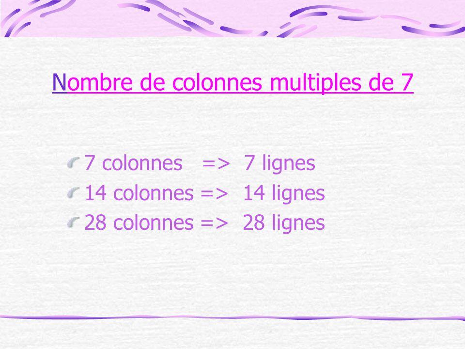 Nombre de colonnes multiples de 7
