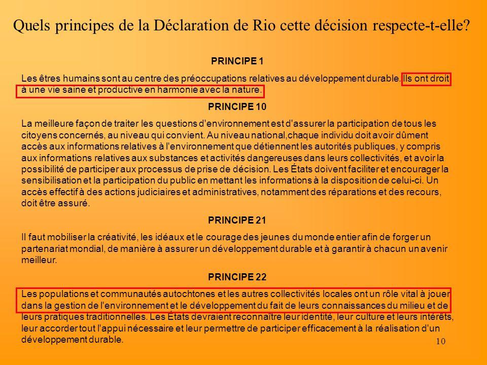 Quels principes de la Déclaration de Rio cette décision respecte-t-elle