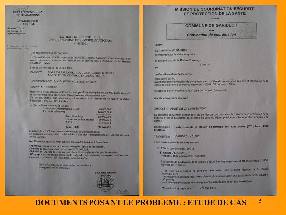 DOCUMENTS POSANT LE PROBLEME : ETUDE DE CAS