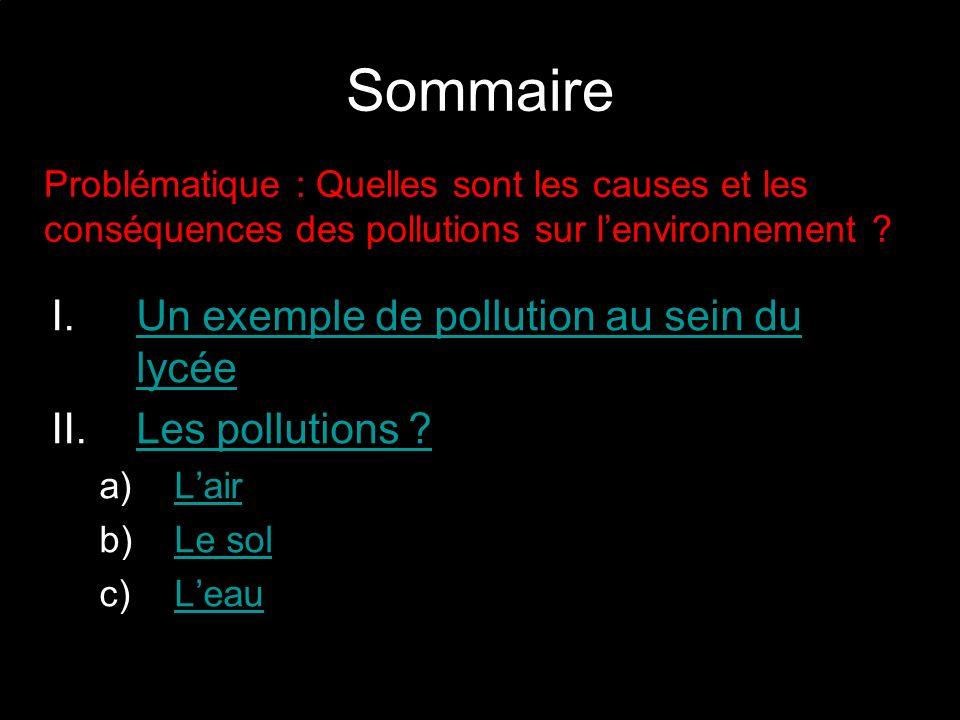 Sommaire Un exemple de pollution au sein du lycée Les pollutions