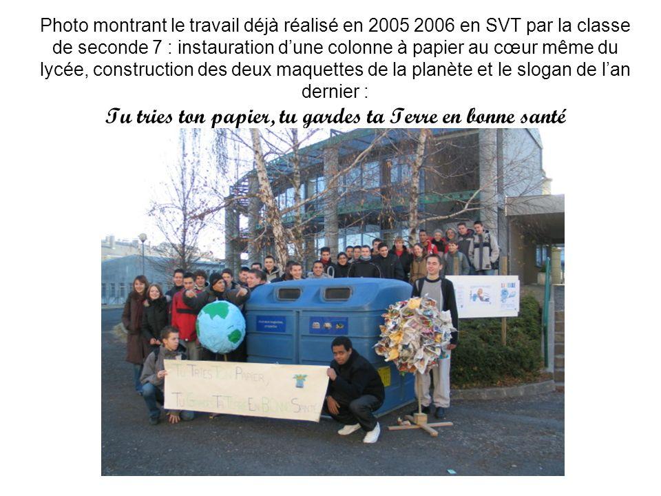 Photo montrant le travail déjà réalisé en 2005 2006 en SVT par la classe de seconde 7 : instauration d'une colonne à papier au cœur même du lycée, construction des deux maquettes de la planète et le slogan de l'an dernier : Tu tries ton papier, tu gardes ta Terre en bonne santé