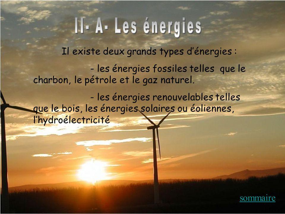 II- A- Les énergies Il existe deux grands types d'énergies :