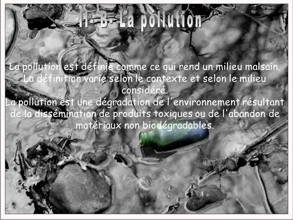 II- B- La pollutionLa pollution est définie comme ce qui rend un milieu malsain. La définition varie selon le contexte et selon le milieu considéré.
