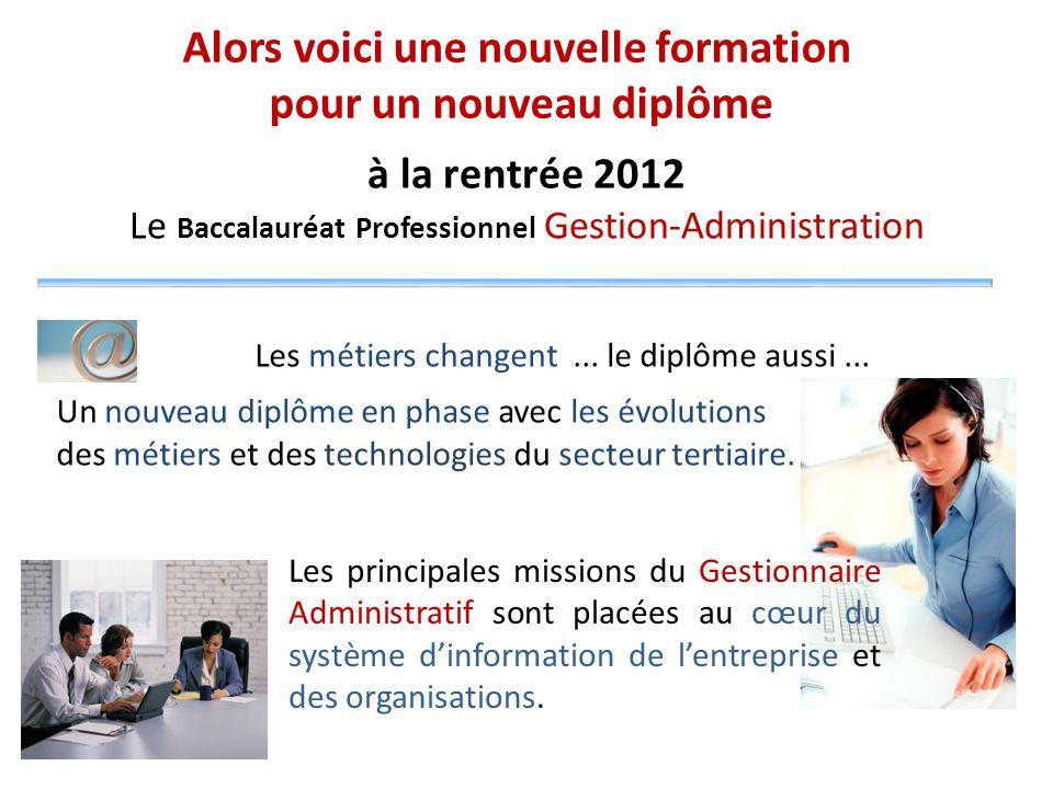 à la rentrée 2012 Le Baccalauréat Professionnel Gestion-Administration