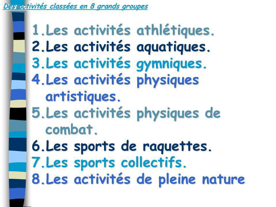 Des activités classées en 8 grands groupes