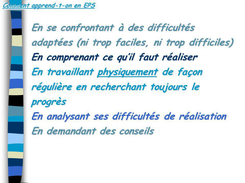 Comment apprend-t-on en EPS
