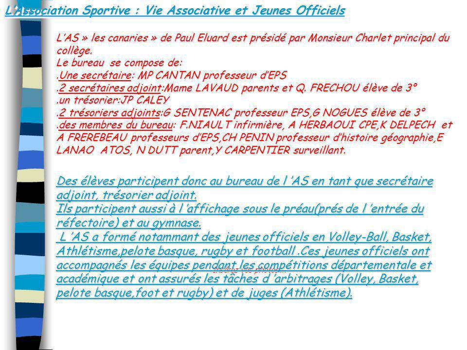 L'Association Sportive : Vie Associative et Jeunes Officiels