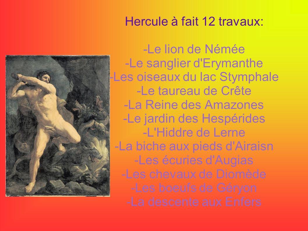 Hercule à fait 12 travaux: -Le lion de Némée -Le sanglier d Erymanthe