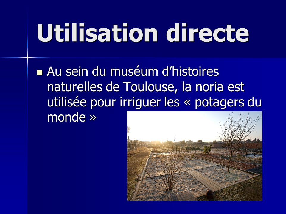 Utilisation directe Au sein du muséum d'histoires naturelles de Toulouse, la noria est utilisée pour irriguer les « potagers du monde »