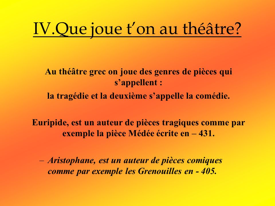 IV.Que joue t'on au théâtre