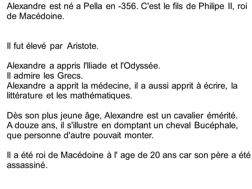 Alexandre est né a Pella en -356
