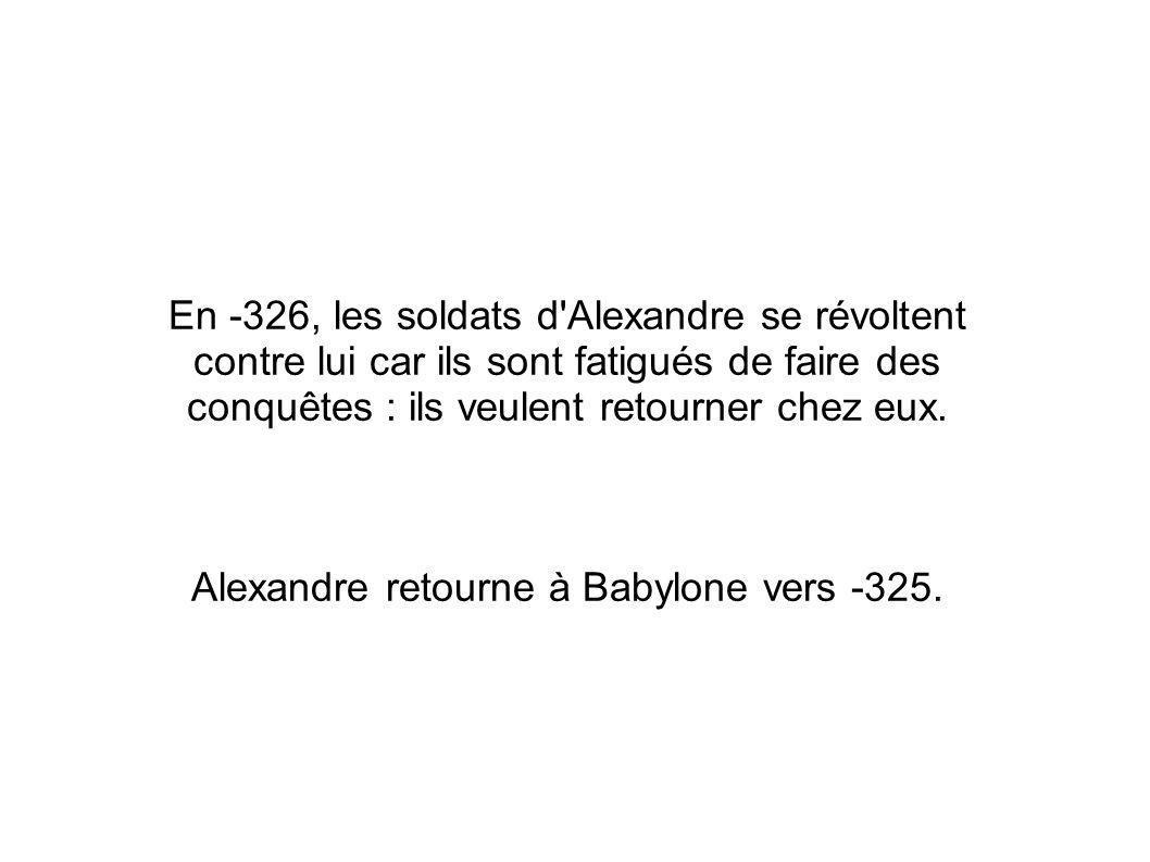Alexandre retourne à Babylone vers -325.