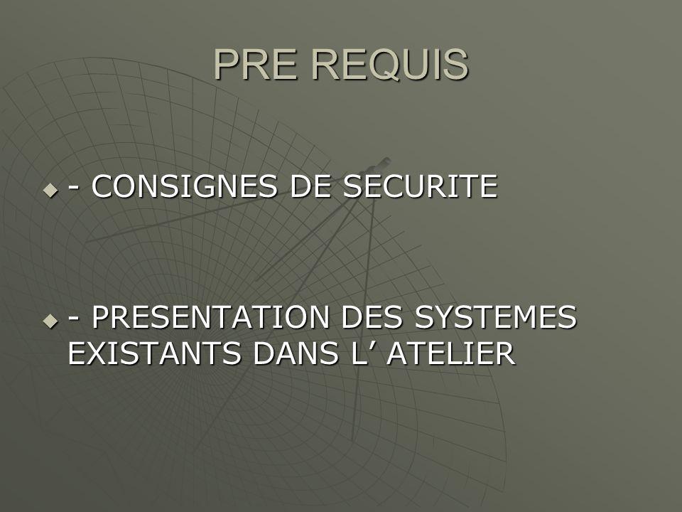 PRE REQUIS - CONSIGNES DE SECURITE