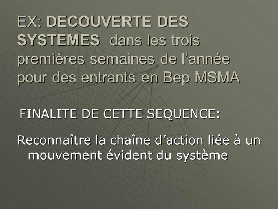EX: DECOUVERTE DES SYSTEMES dans les trois premières semaines de l'année pour des entrants en Bep MSMA