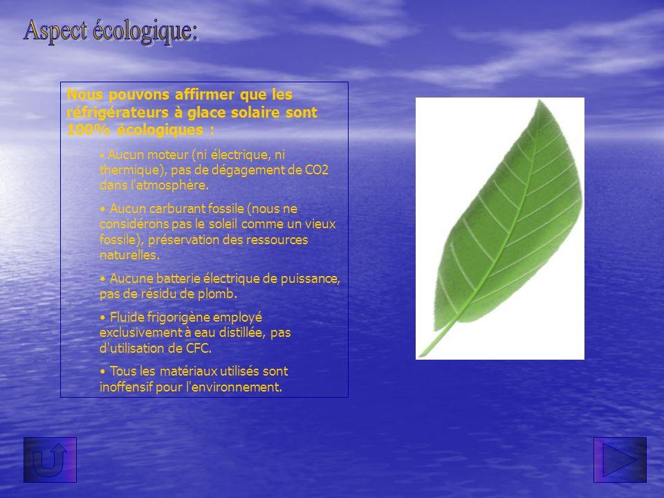 Aspect écologique:Nous pouvons affirmer que les réfrigérateurs à glace solaire sont 100% écologiques :
