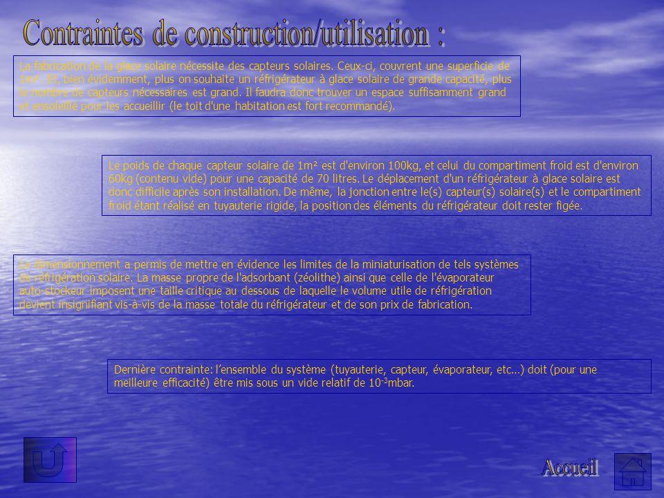 Contraintes de construction/utilisation :